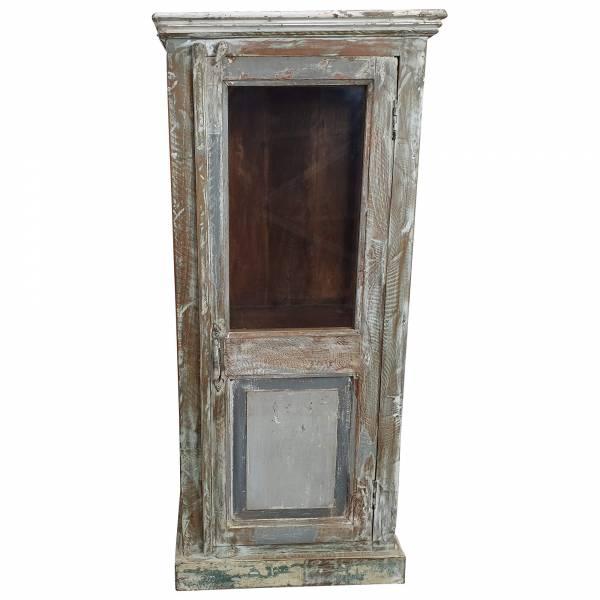 Kommode Hochkommode Vitrine Glas Massiv Holz Vintage Shabby Chic old Design