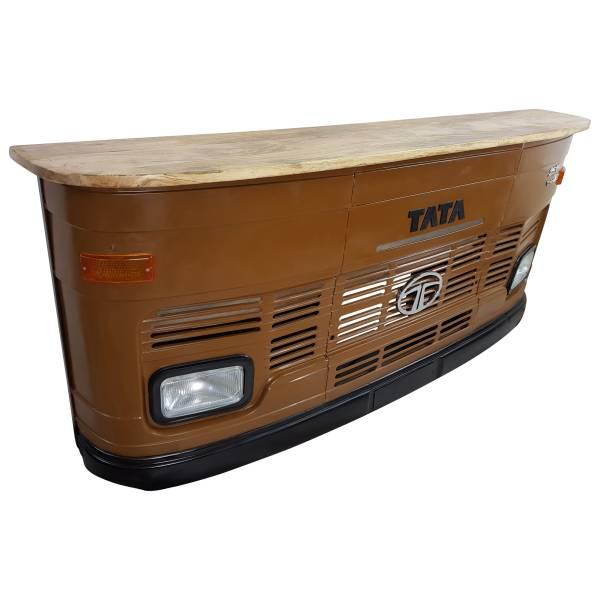 Theke Empfangstresen LKW Bar Tresen Tata groß braun Vintage Design Empfangstheke Metall Anrichte