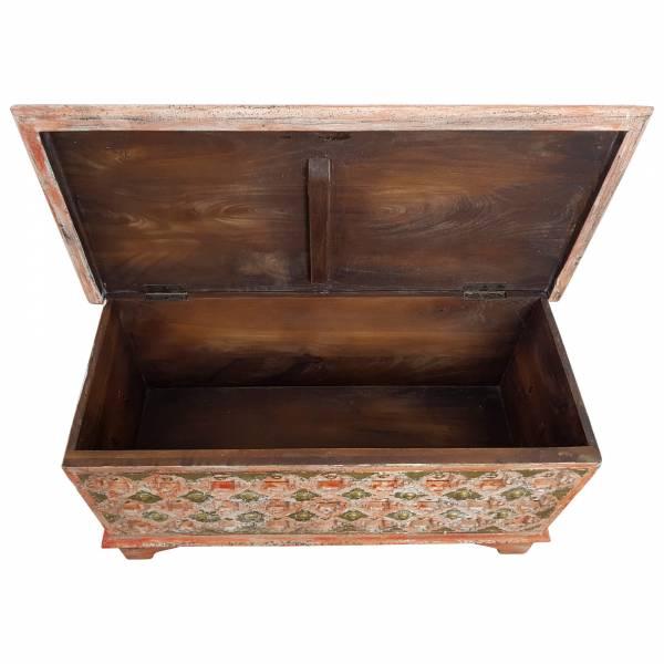 Truhe Kiste Holztruhe Box 90 Vintage Rot Shabby Chic aus Handarbeit Unikat 2