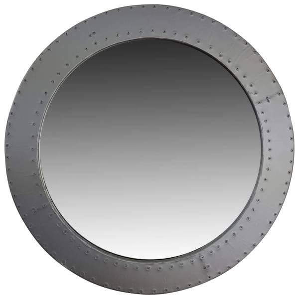 Spiegel rund Wandspiegel silber Ø 60cm Durchmesser Alu Aviator Industrial Design