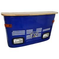 Theke Empfangstresen LKW Bar Tresen Tata klein blau Vintage Design Empfangstheke Metall Anrichte
