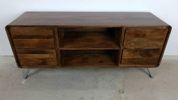 TV-Lowboard Möbel Sideboard mit Schubladen Schrank Massiv-Holz Wohnzimmer Design