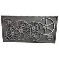 Metallbild 3D Wandbild Zahnräder 90x60 Design Industrial Style Wall Art Bar