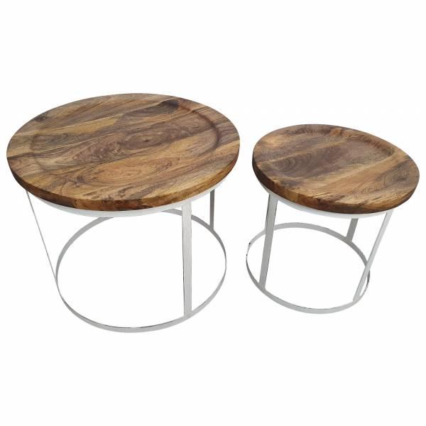 Beistelltisch 2er SET Ø 55 cm Rund Couchtisch Mango-Holz Massiv Möbel Handarbeit