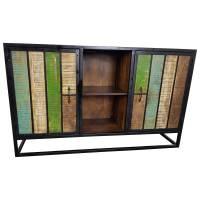 Sideboard Wohnzimmerschrank Kommode 2 Türen Mango Massivholz Bunt Jungle Vintage