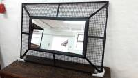 Spiegel Hängespiegel Wandspiegel schwarz Metall Industrial Style Fabrik Loft