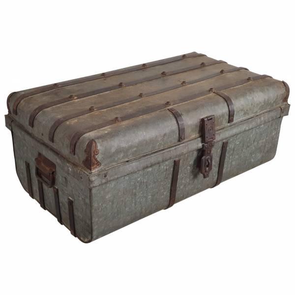 Alter Koffer Metall Vintage Metallkoffer alte Kiste Metalllkiste shabby Unikat 12