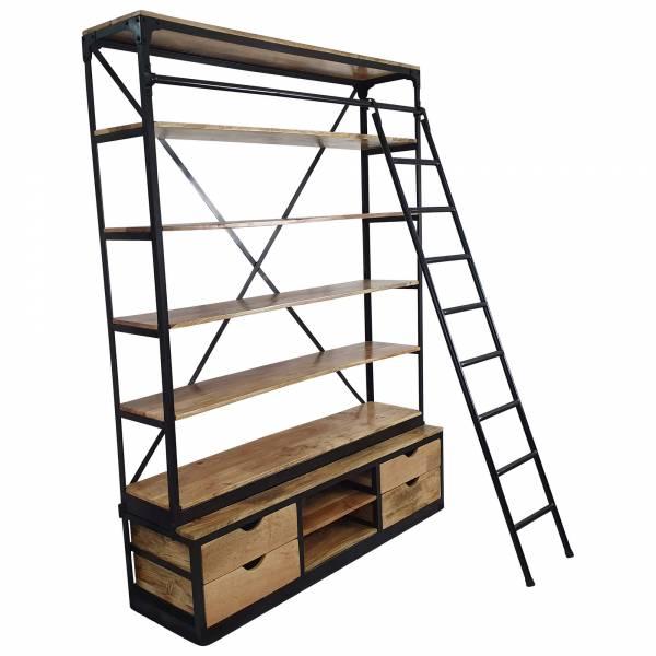 Bücherregal Holz-Regal mit Leiter 150 x 200 cm Metall schwarz Industrial Design