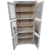 Vitrine Holz-Regal Schrank in weiß Shabby Chic Vintage 6-türig 6 Fächer Design