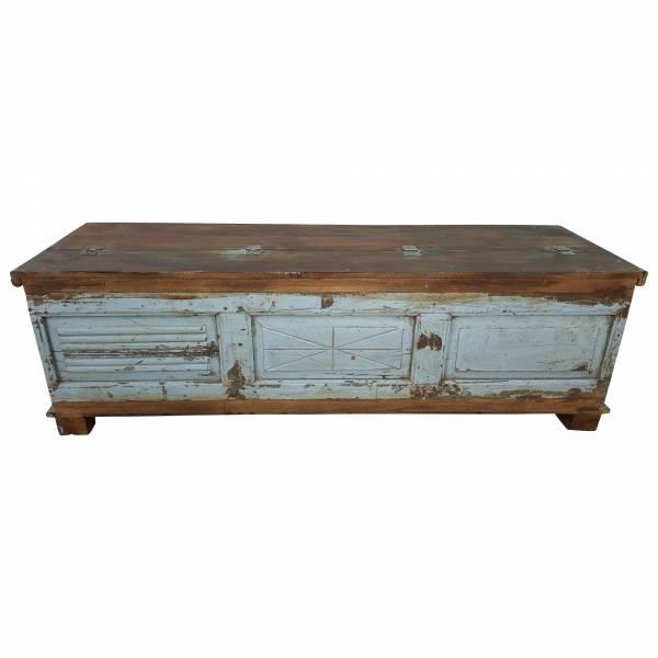Holztruhe Truhe Kiste Vintage blau Massiv aus Altholz Türen Handarbeit Unikat 16