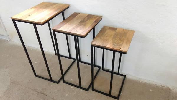 Beistelltisch Ablagetisch 3er Set Mango Metall Massivholz Shabby Chic Handarbeit