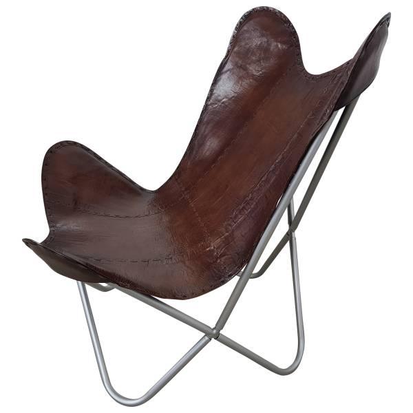 Butterfly Chair Sessel Design Lounge Stuhl glatt Leder braun Loungesessel
