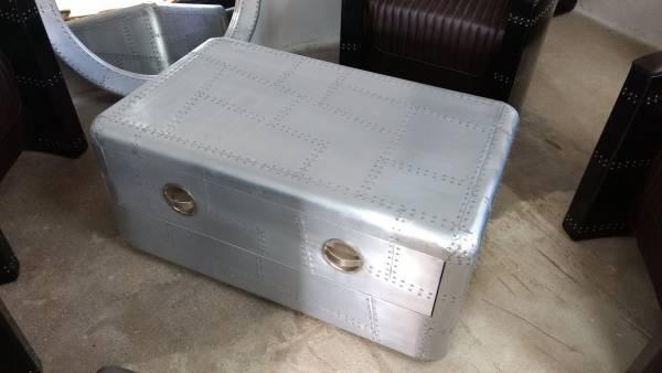 Couchtisch Alu Wohnzimmertisch Aviator Sofatisch Loungetisch Tisch silber Design