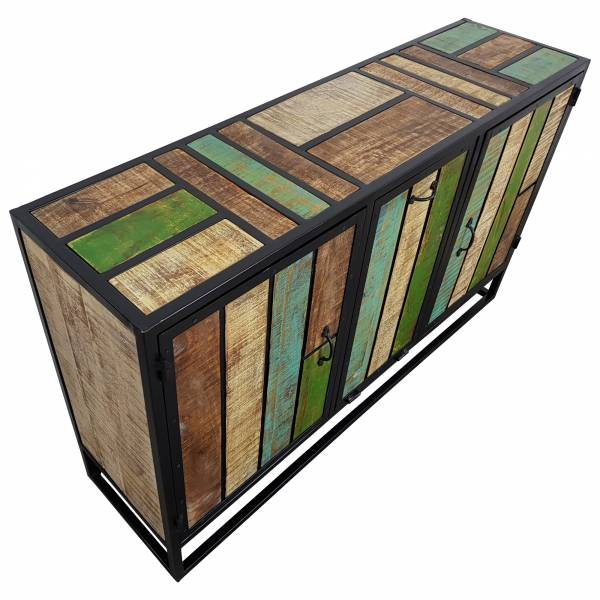 Kommode Schrank Sideboard Wohnzimmer 3 Türen Massiv-Holz Bunt Vintage Design