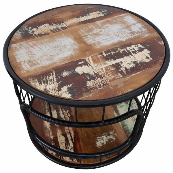 Couchtisch Wohnzimmer-Tisch Sofatisch Loungetisch Massiv-Holz schwarz Rund 60 cm
