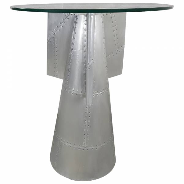 Tischgruppe Sitzgruppe Tisch + 2 Hocker silber alu Aviator Trend Design Unikat