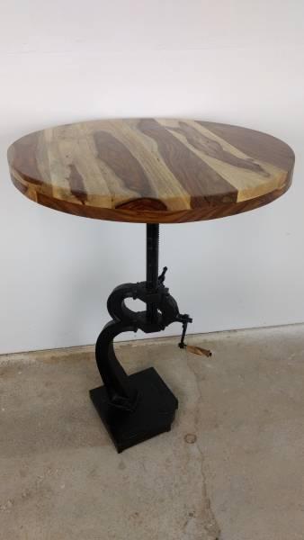 Stehtisch Bartisch Bistrotisch Tisch Höhenverstellbar Ø 76 cm Sheesham Crank