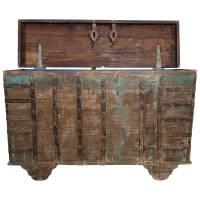 Große Holztruhe Truhe Hochzeitstruhe Vintage Massivholz Altholz Türen Unikat 1