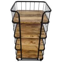 Küchenwagen mehrstöckig 4 Böden Rollen Regal Industrie Design Holz Retro Art Bar
