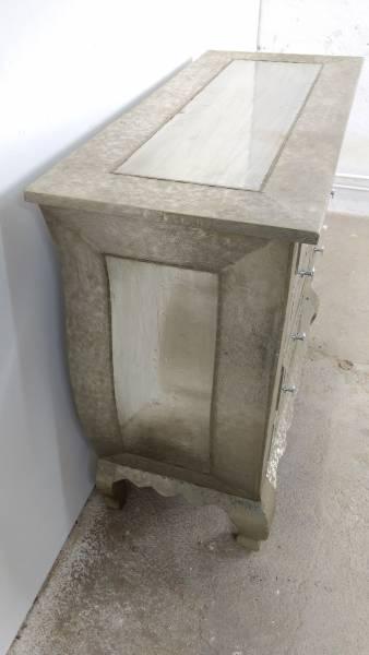 Kommode Schrank Anrichte Sideboard mit Schubkästen Vintage silber Alu beschlagen