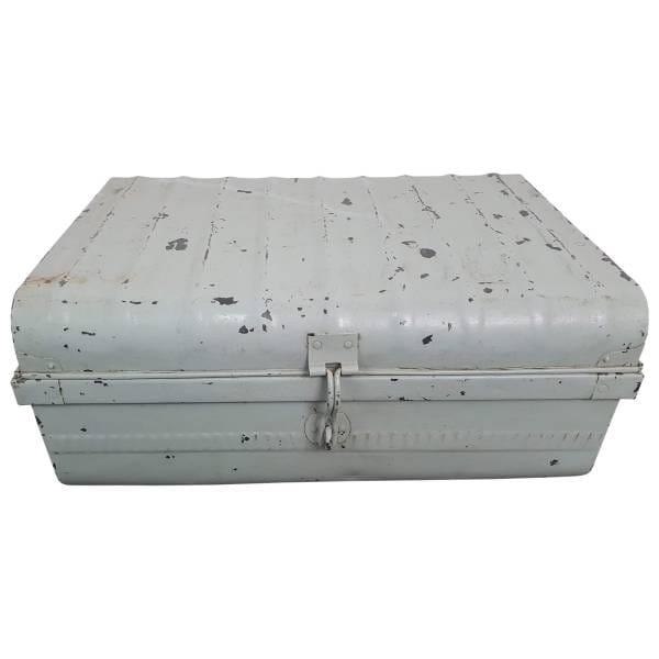 Alter Koffer Metall Vintage Metallkoffer alte Kiste Metalllkiste shabby Unikat 2