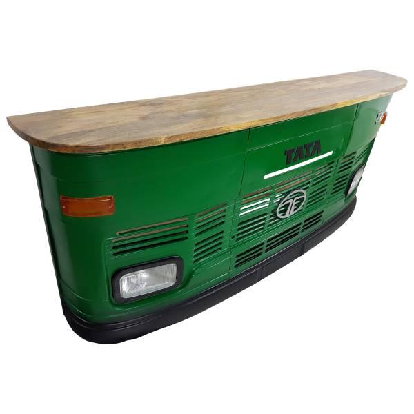 Theke Empfangstresen LKW Bar Tresen Tata groß grün Vintage Design Empfangstheke Metall Anrichte