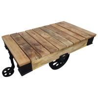 Couchtisch Lounge-Tisch Räder Massiv Mangoholz Metall Vintage Industrie Design