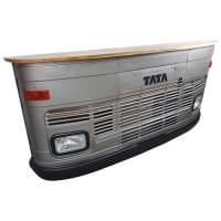Theke Empfangstresen LKW Bar Tresen Tata groß silber Vintage Design Empfangstheke Metall Anrichte