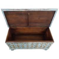 Truhe Kiste Holztruhe 90 Box Vintage Blau Shabby Chic aus Handarbeit Unikat