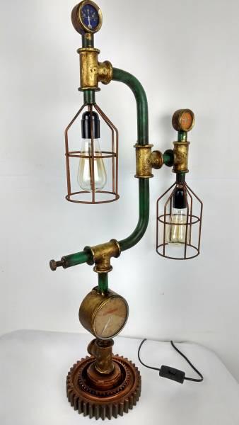 Tischlampe Vintage Lampe Tischleuchte Metall Rohr Industrial Leuchte 44x19x87 cm Retro Look