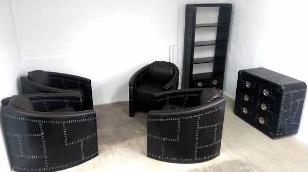 Clubsessel Loungesessel schwarz Aviator Designsessel Pilotensessel alu Sessel