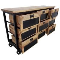 Kommode Schrank Sideboard Räder Rollbar Massiv-Holz apotheker Industrial Design