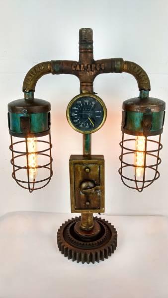 Tischlampe Vintage Lampe Tischleuchte Metall Rohr Industrial Leuchte 43x19x62 cm Retro Look