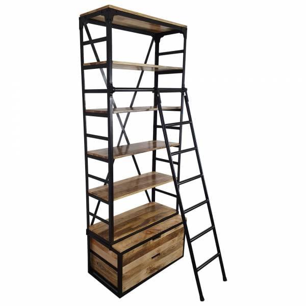 Bücherregal Holz-Regal mit Leiter 80 x 200 Metall schwarz Industrial Design