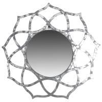 Spiegel Wandspiegel groß silber Ø 88 cm Alu Deko Rund Orientalisch Design Indien