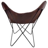 Lounge Sessel Leder Chair Retro Design Loungesessel braun Loungestuhl Butterfly