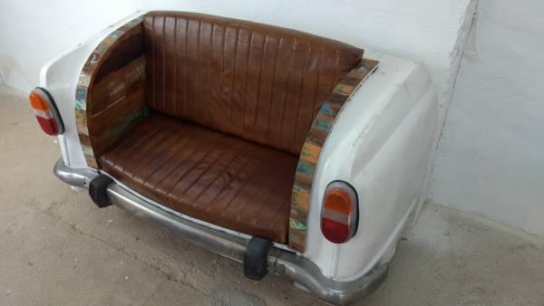 Autosofa Auto-Couch Möbel Sofa Sitzbank als 2 Sitzer Autoheck Car Metall Tuk Tuk