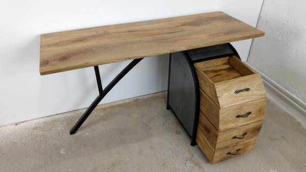Schreibtisch Büro-Tisch Ofiice Akazie mit Büro-Container 150cm Industrie Design