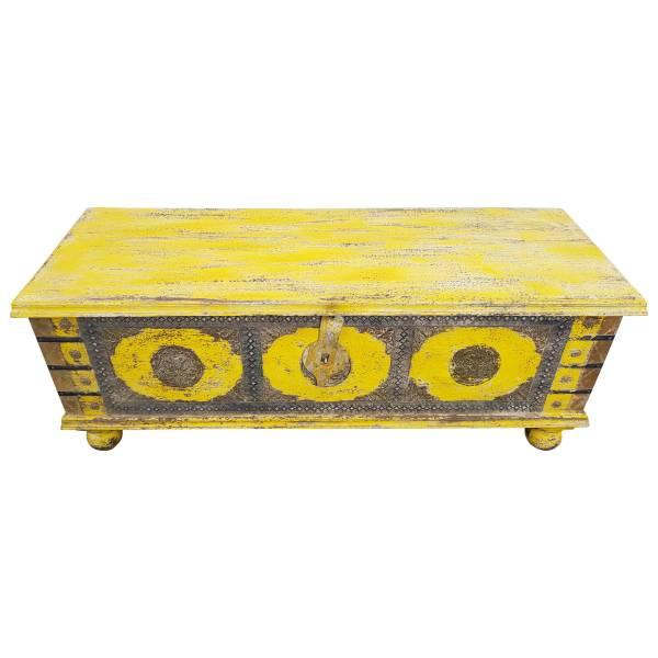 Truhe Kiste Holztruhe Vintage Gelb Box aus Altholz Antik Handarbeit Unikat 14