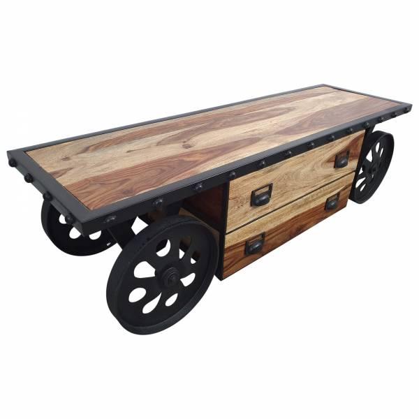TV-Lowboard Möbel mit Rädern Sheesham Sideboard Massiv Holz Industrial Design