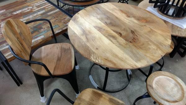 Esstisch Küchentisch Esszimmer-Tisch Massiv-Holz Design Rund Ø 90 cm modern Art