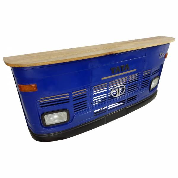 Theke Empfangstresen LKW Bar Tresen Tata groß blau Vintage Design Empfangstheke Metall Anrichte