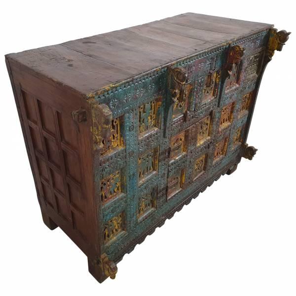 Kommode Sideboard Damachiya Vintage Taste of India Alt Antik Altholz Unikat 3