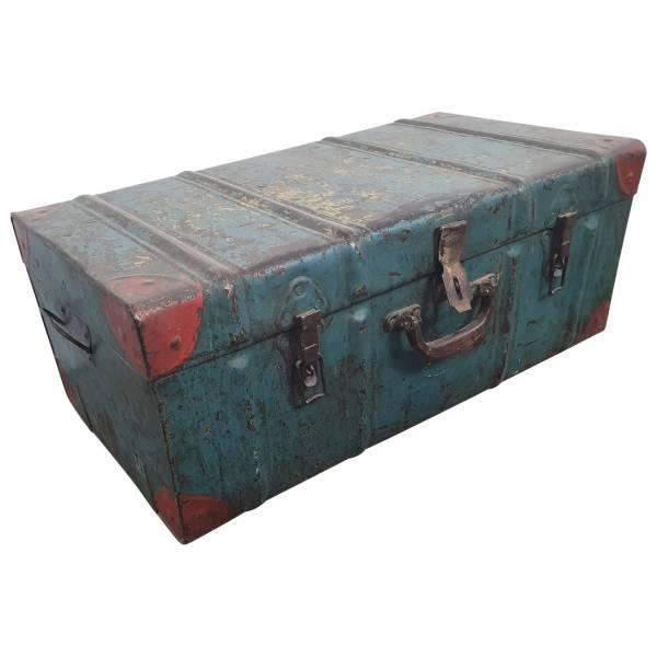 Alter Koffer Metall Vintage Metallkoffer alte Kiste Metalllkiste shabby Unikat 16