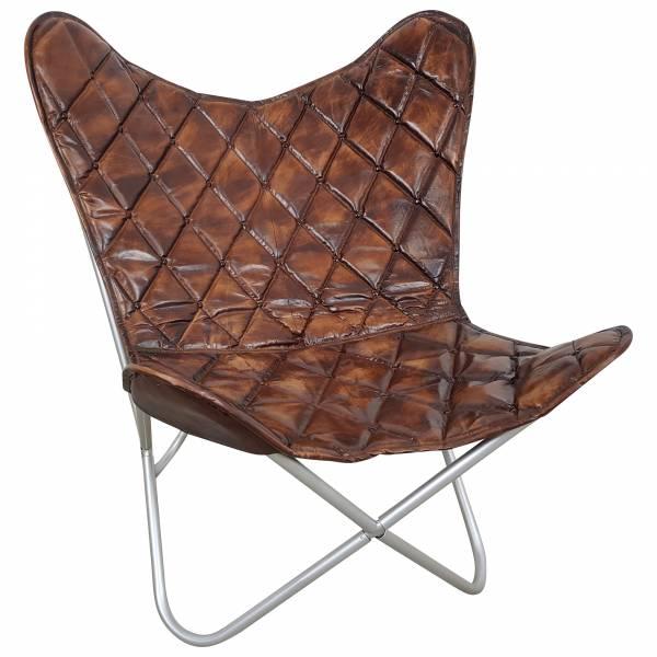 Butterfly Chair Sessel Design Lounge Stuhl Vintage echt Leder braun Loungesessel