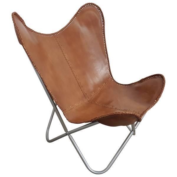Butterfly Chair Sessel Vintage Lounge Stuhl echt Leder braun Loungesessel