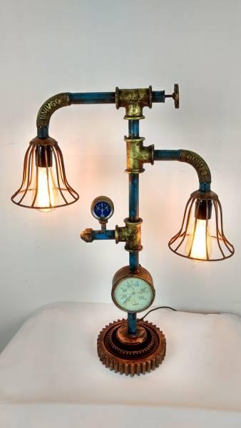 Tischlampe Vintage Lampe Tischleuchte Metall Rohr Industrial Leuchte 52x19x68 cm Retro Look