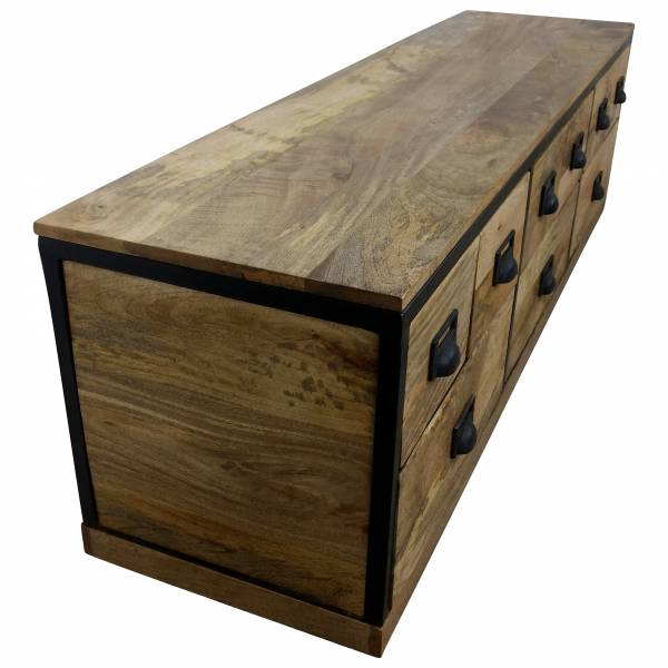 TV-Lowboard Möbel Sideboard Schubladen-Schrank Mango Massiv-Holz Loft art Design