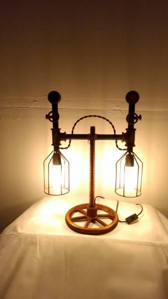 Tischlampe Vintage Lampe Tischleuchte Metall Rohr Industrial Leuchte 45x25x60 cm Retro Look