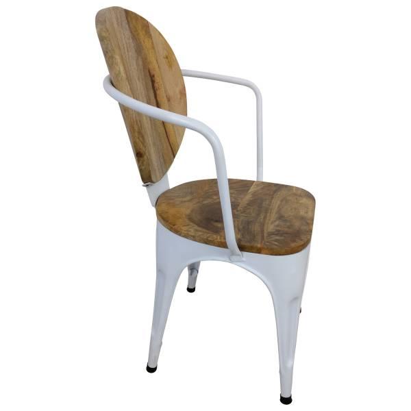 Stuhl Weiß Esszimmerstuhl Industrie Design Massivholz Handarbeit Industrial Art